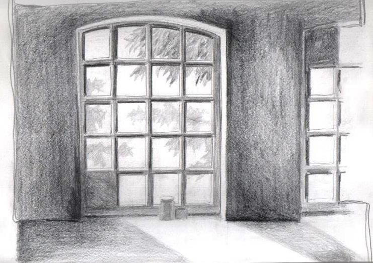 Fenster bleistiftzeichnung  Bleistiftzeichnungen - Susanne Sommer